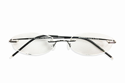 Rimless Reading Glasses - Oval - Gun Metal
