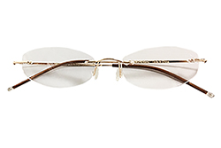 Rimless Reading Glasses - Oval - Gold
