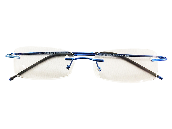 Rimless Reading Glasses - Rectangle - Blue