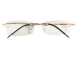 Rimless Reading Glasses - Rectangle - Gold