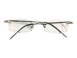 Rimless Reading Glasses - Rectangle - Gun Metal