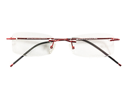 Rimless Reading Glasses - Rectangle - Red