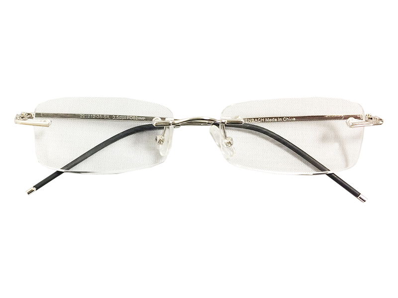 4489947acb30 Rimless Reading Glasses - Rectangle - Silver