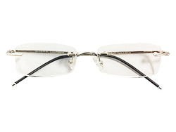 Rimless Reading Glasses - Rectangle - Silver